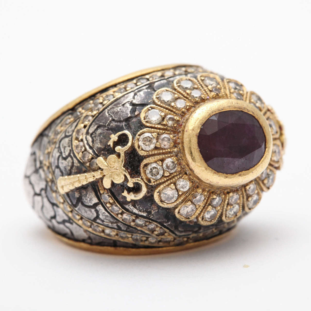 Women's Erhan Gursen Ruby Diamond Silver Gold Cocktail Ring For Sale