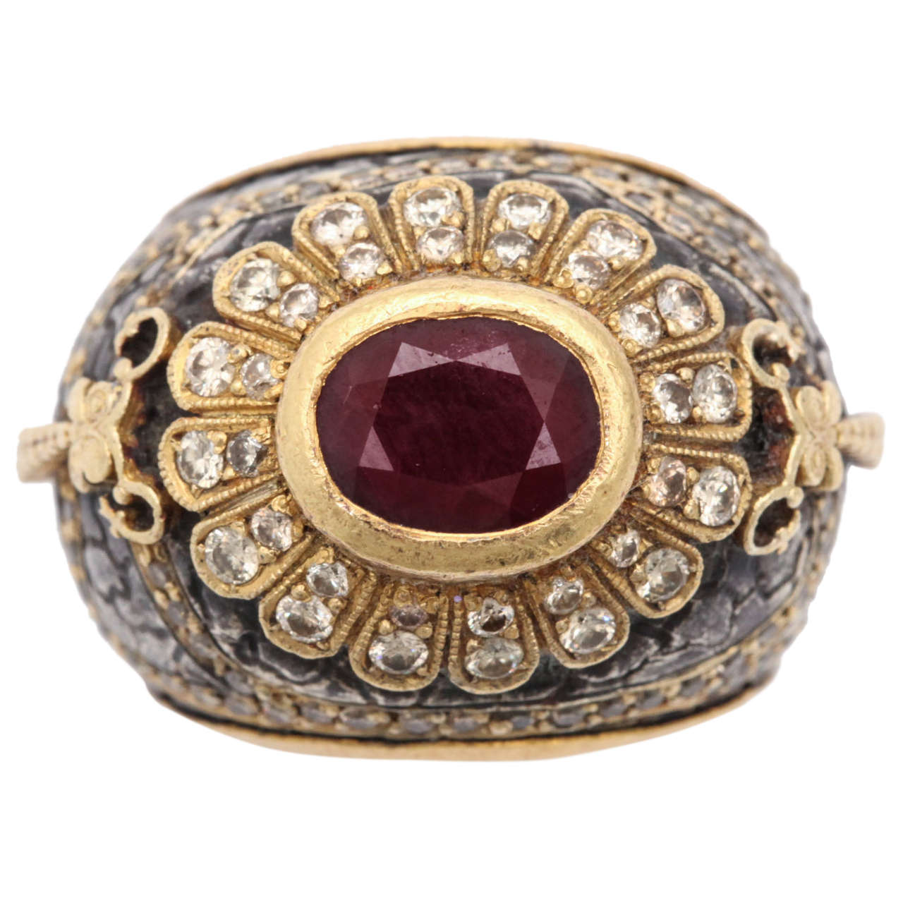 Erhan Gursen Ruby Diamond Silver Gold Cocktail Ring For Sale