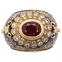 Erhan Gursen Ruby Diamond Silver Gold Cocktail Ring