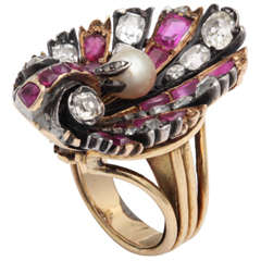 Superb Ruby Pearl Diamond Ring
