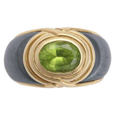 Bulgari Peridot Steel Gold Ring
