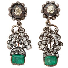 Magnificent Early Diamond & Emerald Earrings