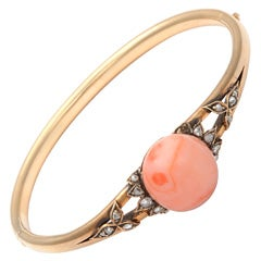 Rose Gold Coral rose Diamond Bangle