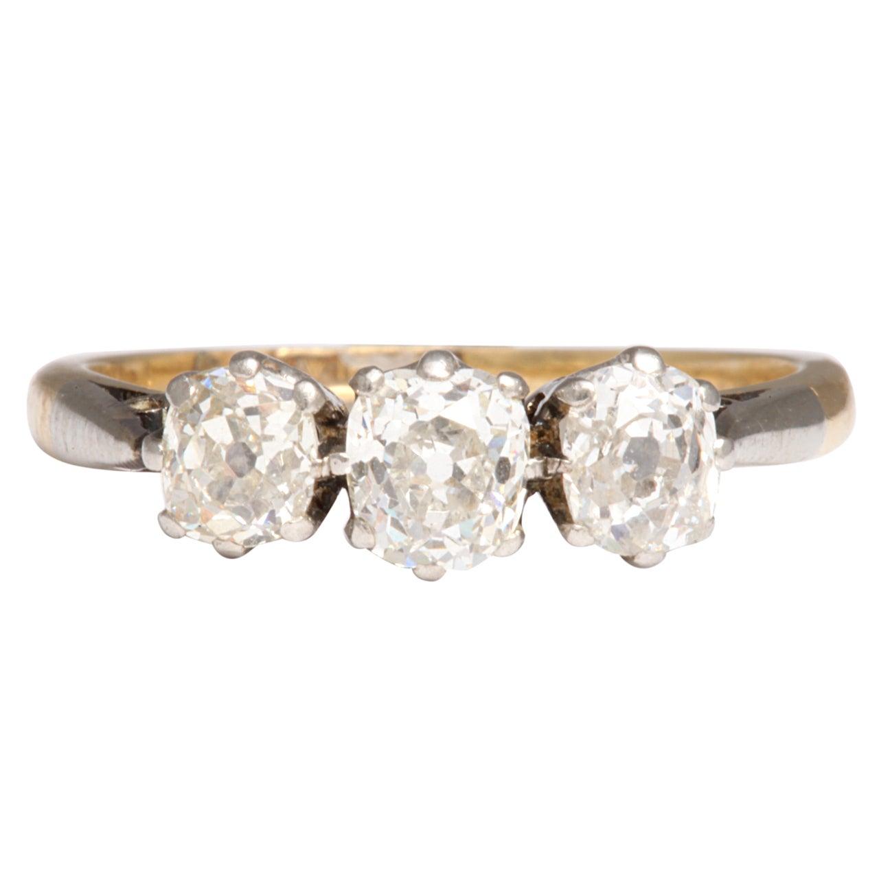 Antique Victorian Three-Stone Old Mine Diamond Ring For Sale