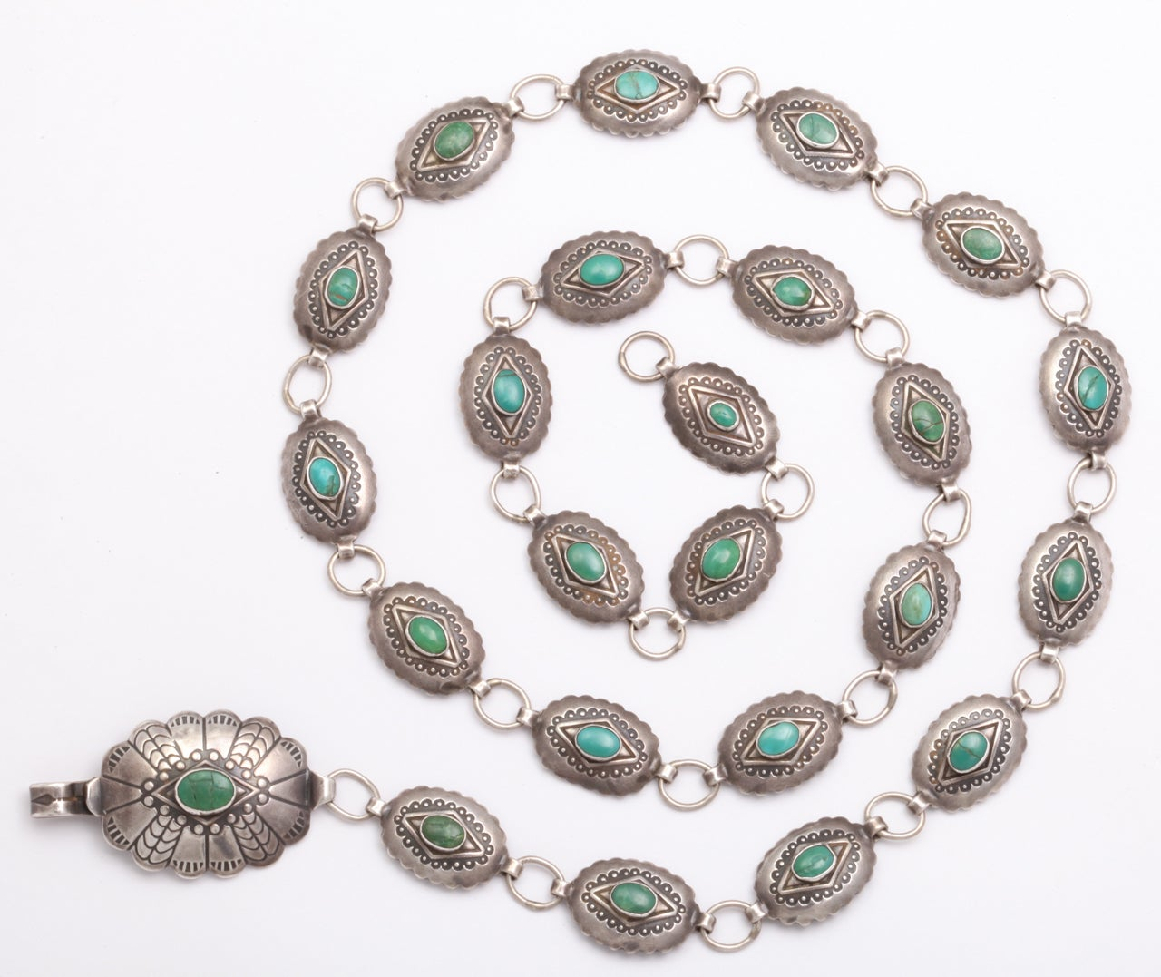 A Patterned Navajo Belt of Silver and Turquoise 2