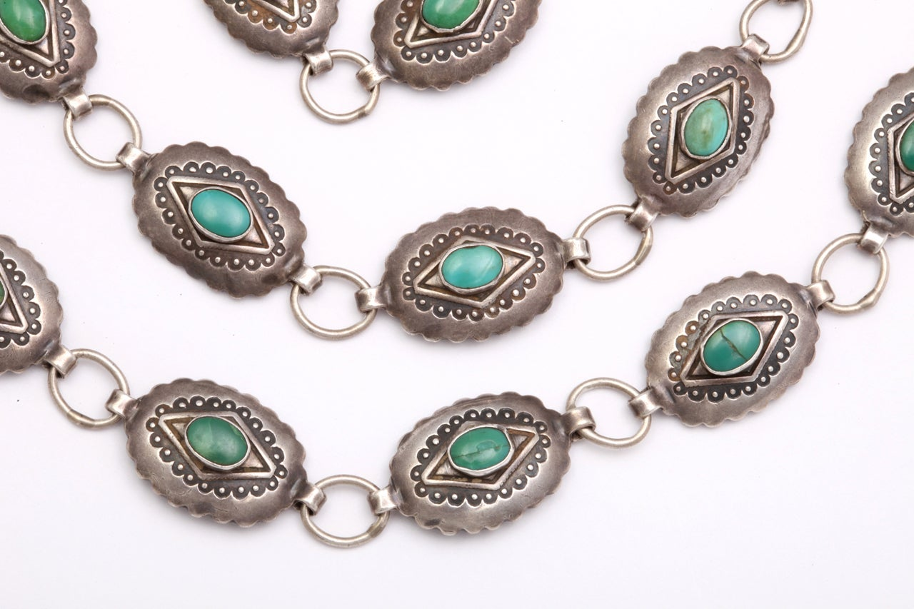 A Patterned Navajo Belt of Silver and Turquoise 3