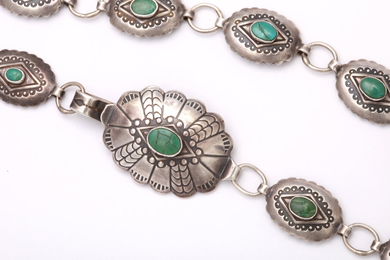 A Patterned Navajo Belt of Silver and Turquoise 4