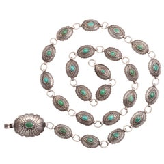 A Patterned Navajo Belt of Silver and Turquoise