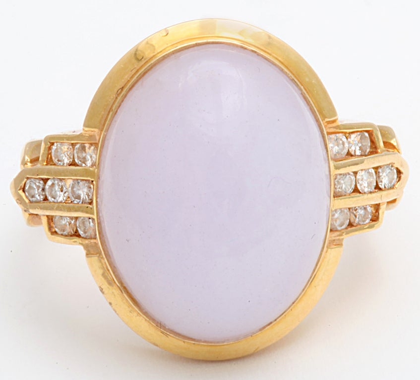 Gentle Lilac True Jade Gem Diamond Gold Dome Ring 3