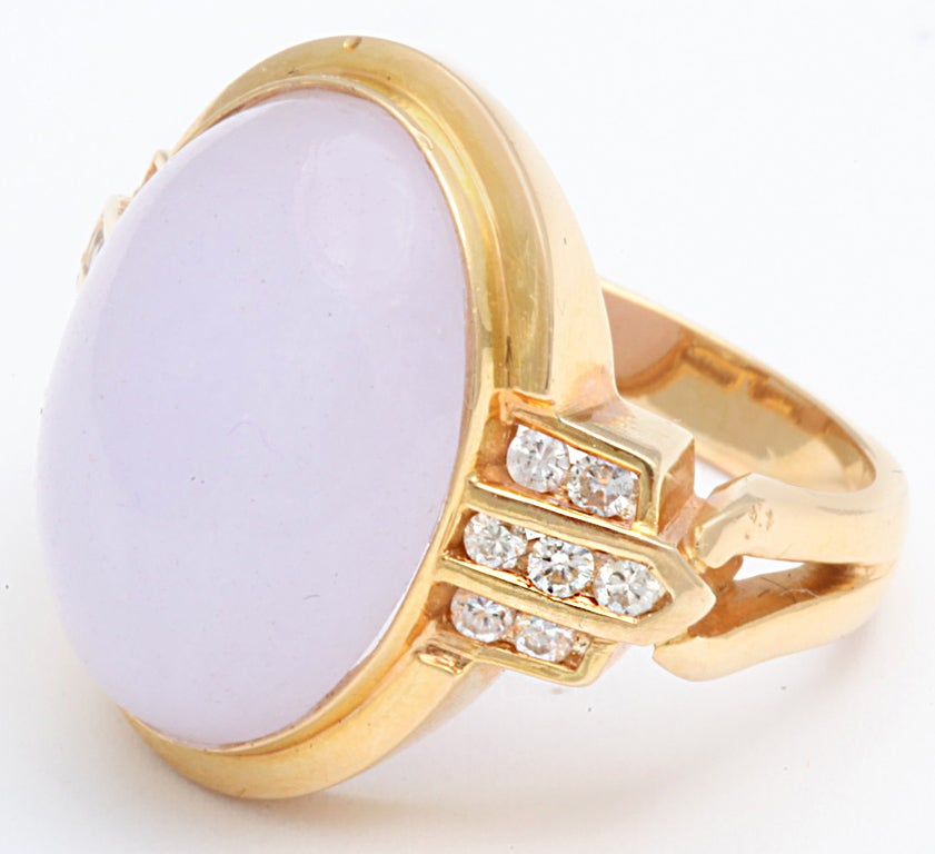 Gentle Lilac True Jade Gem Diamond Gold Dome Ring 4