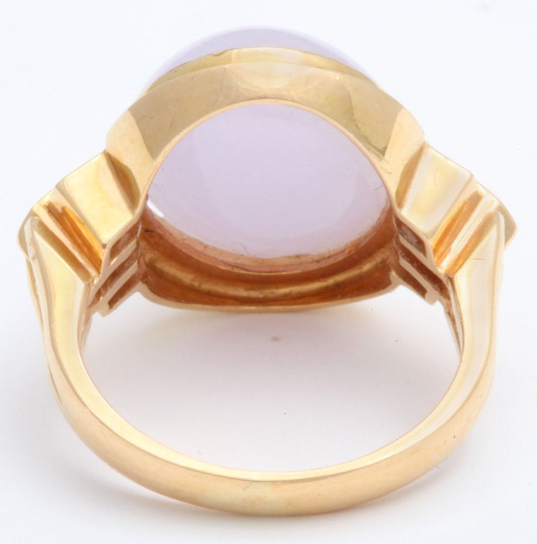 Gentle Lilac True Jade Gem Diamond Gold Dome Ring 6