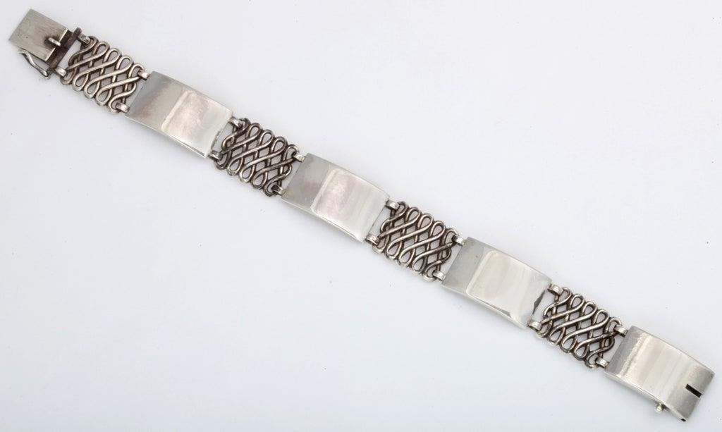 Artist Georg Jensen Silver Alternating Link Bracelet For Sale