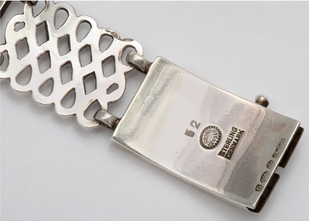 Georg Jensen Silver Alternating Link Bracelet In Excellent Condition For Sale In Stamford, CT