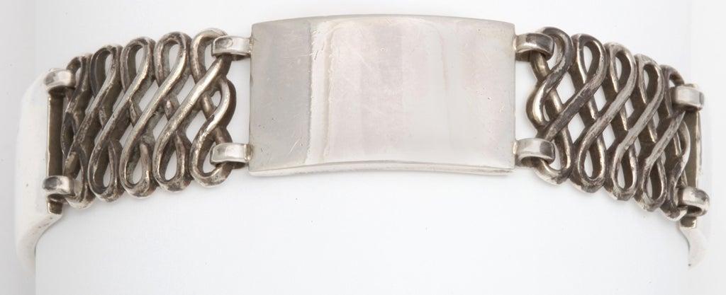Georg Jensen Silver Alternating Link Bracelet For Sale 3