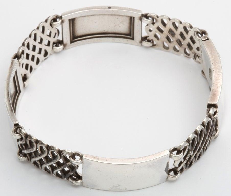 Georg Jensen Silver Alternating Link Bracelet For Sale 2