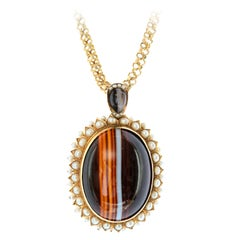 Victorian Banded Agate and Natural Pearl Locket