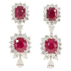 Magnificent Burma Ruby Diamond Double Cluster Earrings