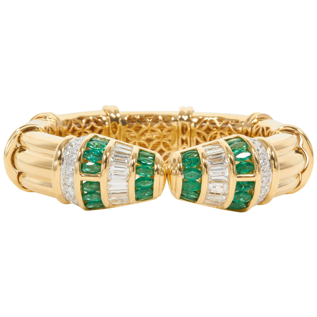 Green Emerald Diamond Gold Cuff