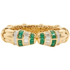 Green Emerald Diamond Gold Cuff