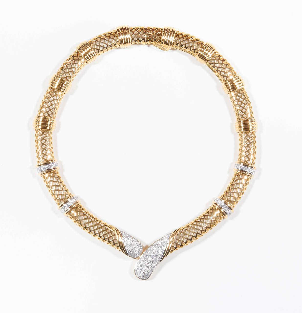 Gold Italy Platinum: Italian Diamond Gold Platinum Choker Necklace For Sale At