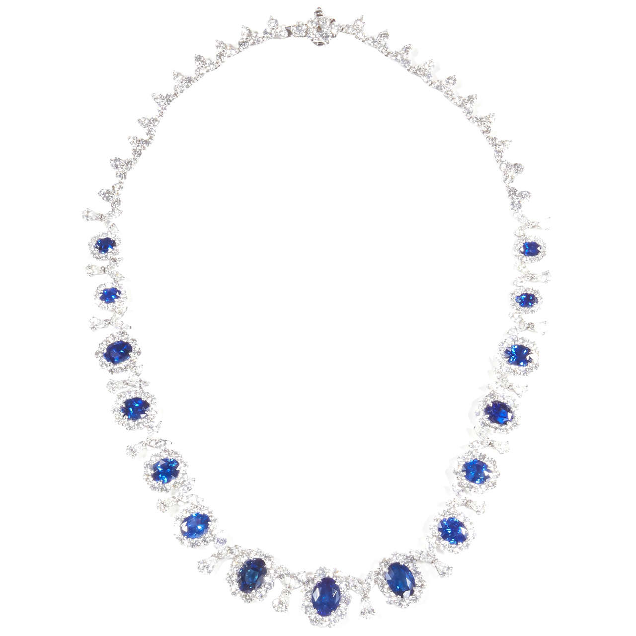 Classic Sapphire Diamond Gold Necklace For Sale