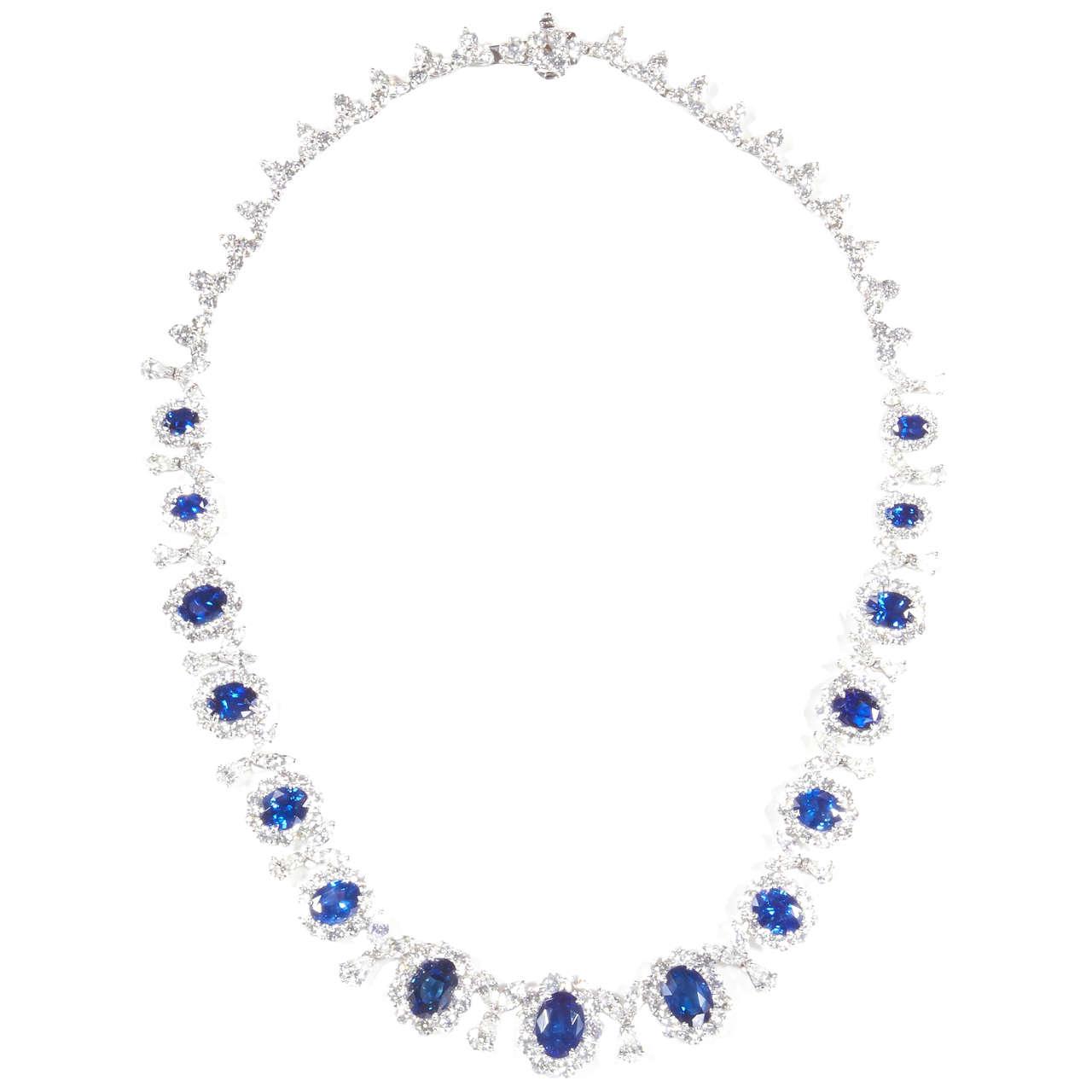 Classic Sapphire Diamond Gold Necklace