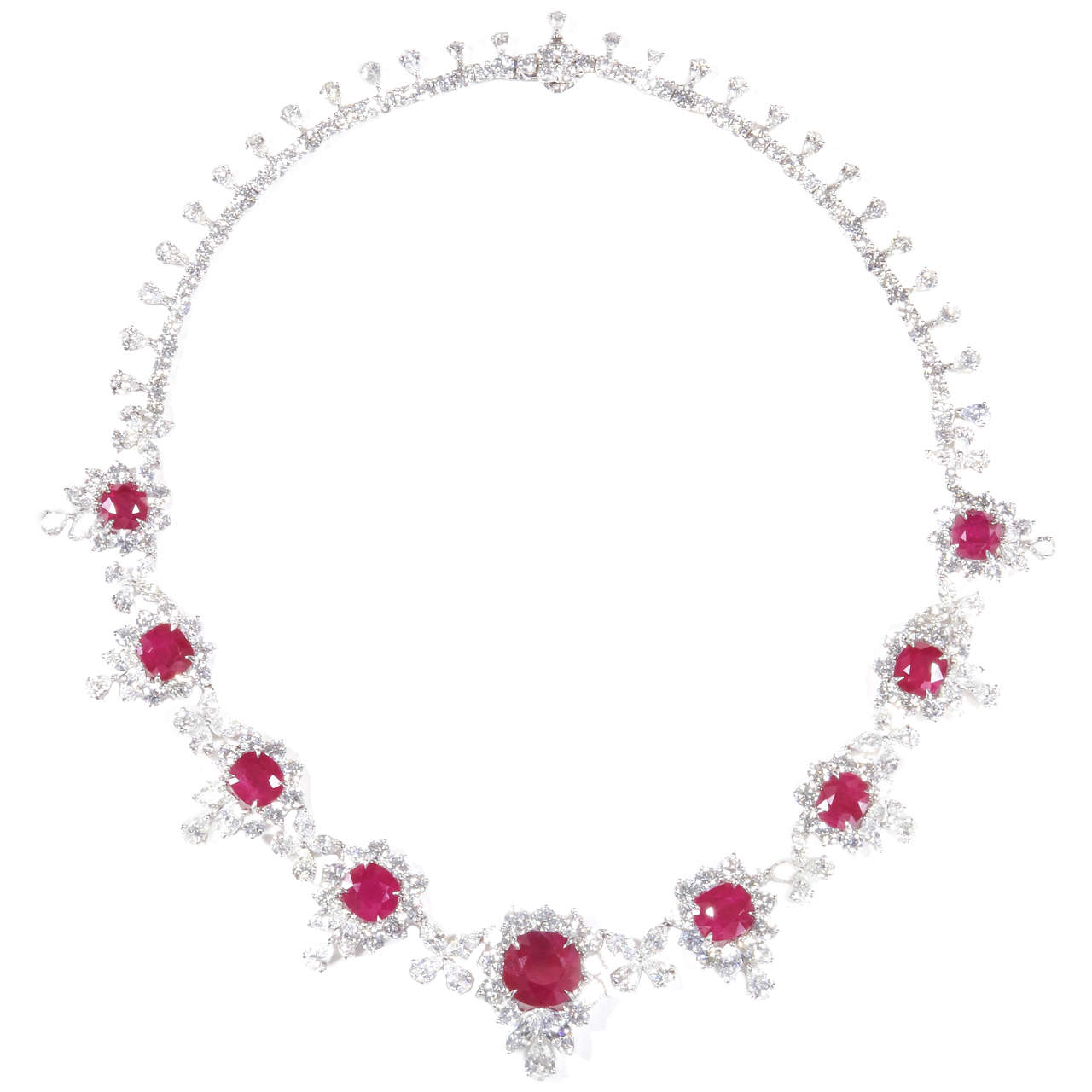 Magnificent Ruby Diamond Cluster Necklace