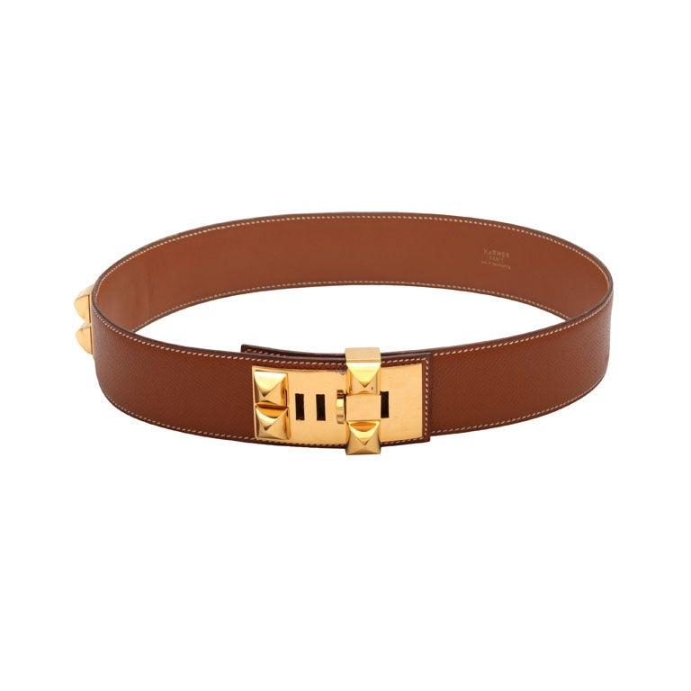 hermes collier de chien belt brown gold at 1stdibs