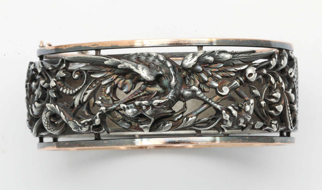 Women's or Men's French Napoleon III Cuff Bracelet, Paris 1860-1870 For Sale