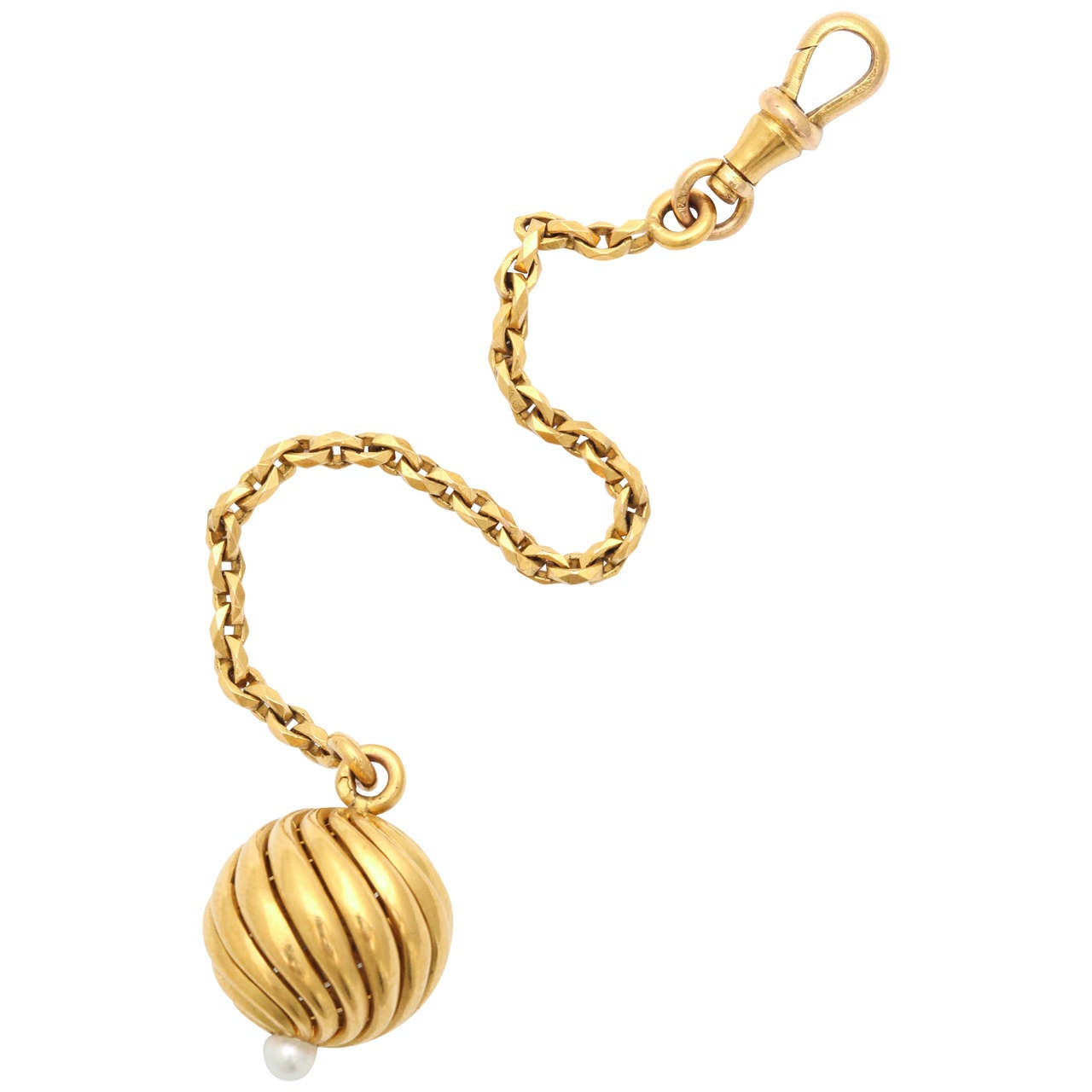 French Pearl Gold Fob Zipper Pull