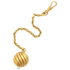 French 19th century Pearl 18k Gold and Pearl Fob, Paris