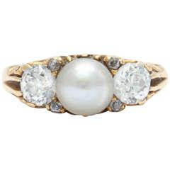 Victorian Pearl Diamond Gold Ring Circa 1890