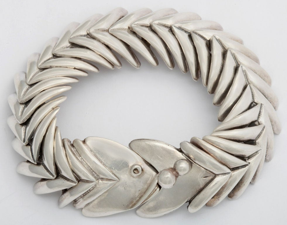 Hallmarked Sterling Silver Bracelet By D Molina This Fish Motif Is Exceptionally Comfortable