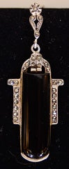 Pair of Art Deco Black Onyx ,Sterling and Marcasite Earrings thumbnail 4