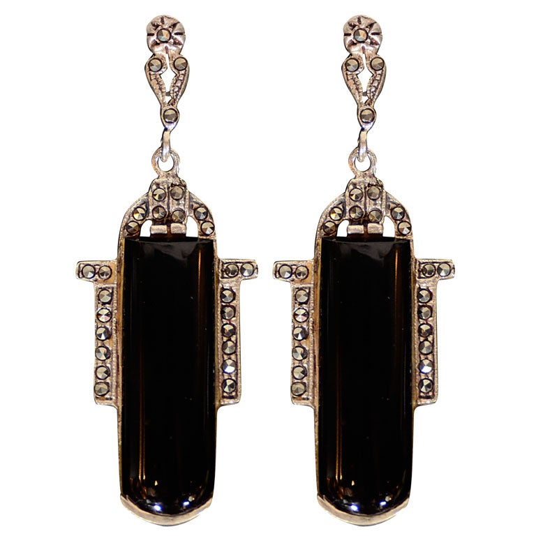 Pair of Art Deco Black Onyx ,Sterling and Marcasite Earrings