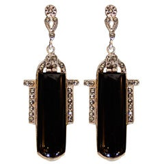 Pair of Art Deco Black Onyx ,Sterling and Marcasite Earrings thumbnail 1