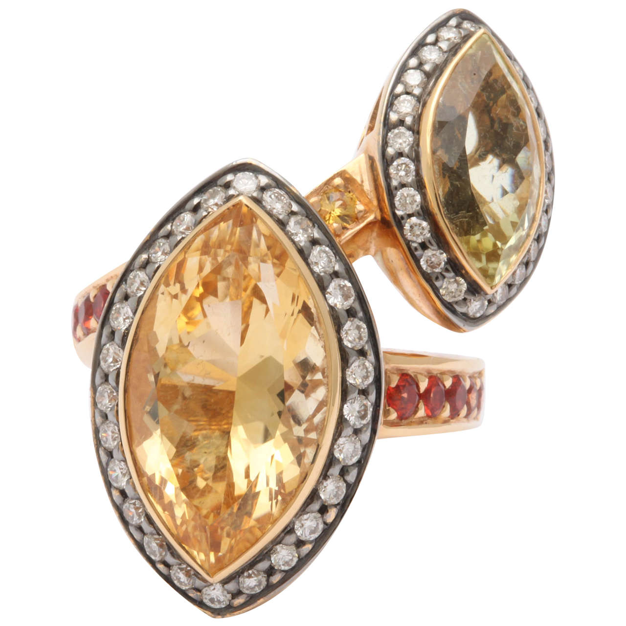 Stunning and Unusual  Citrine Bypass Ring