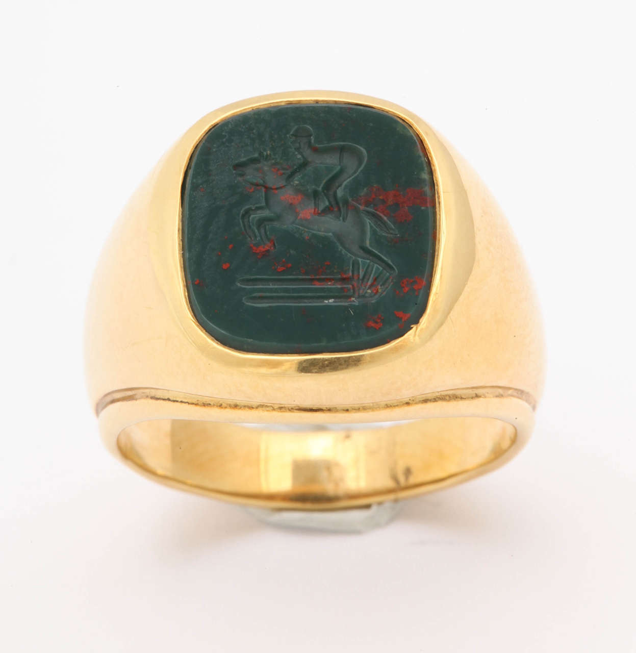 Bloodstone Intaglio Jumping Horse Ring For Sale 2