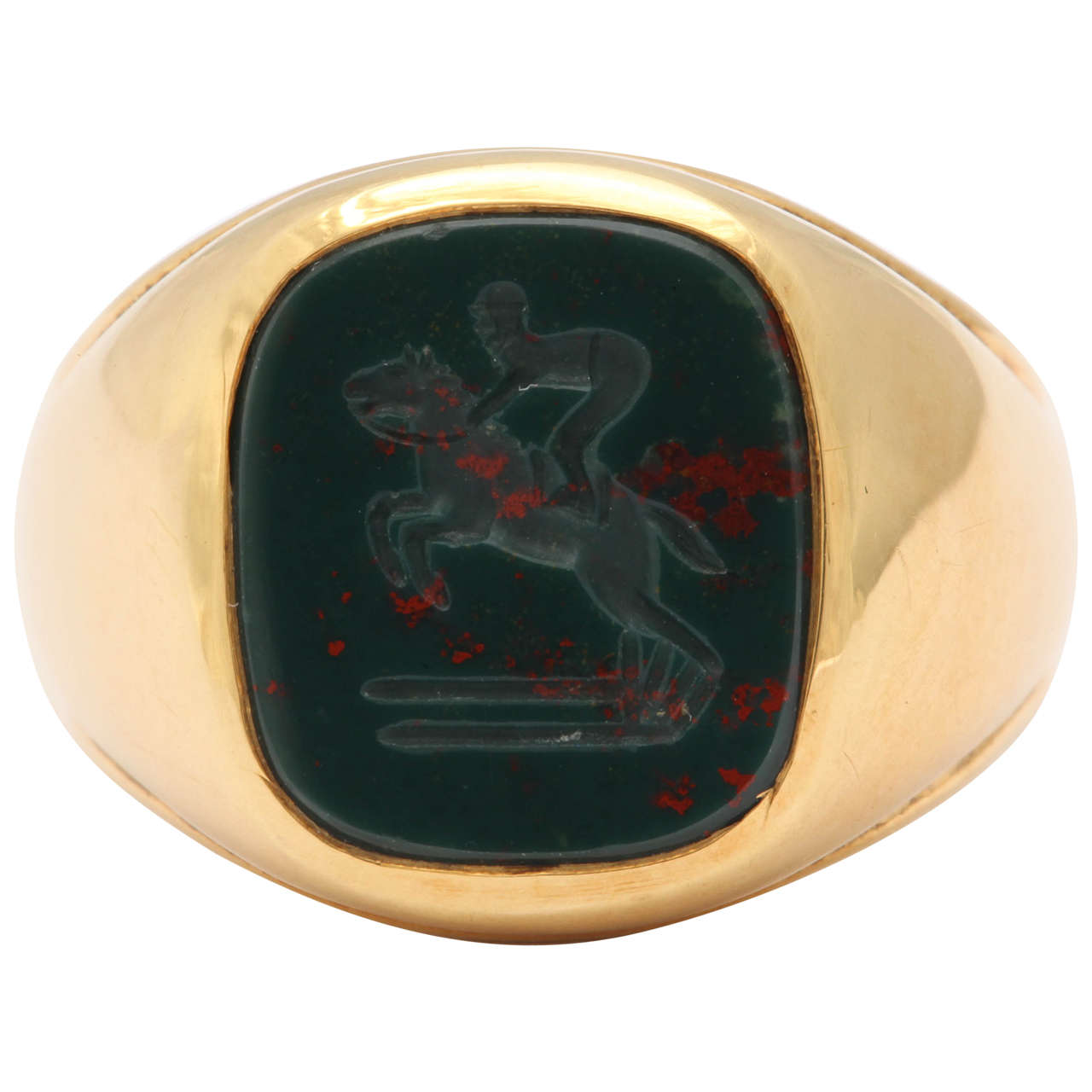 Bloodstone Intaglio Jumping Horse Ring