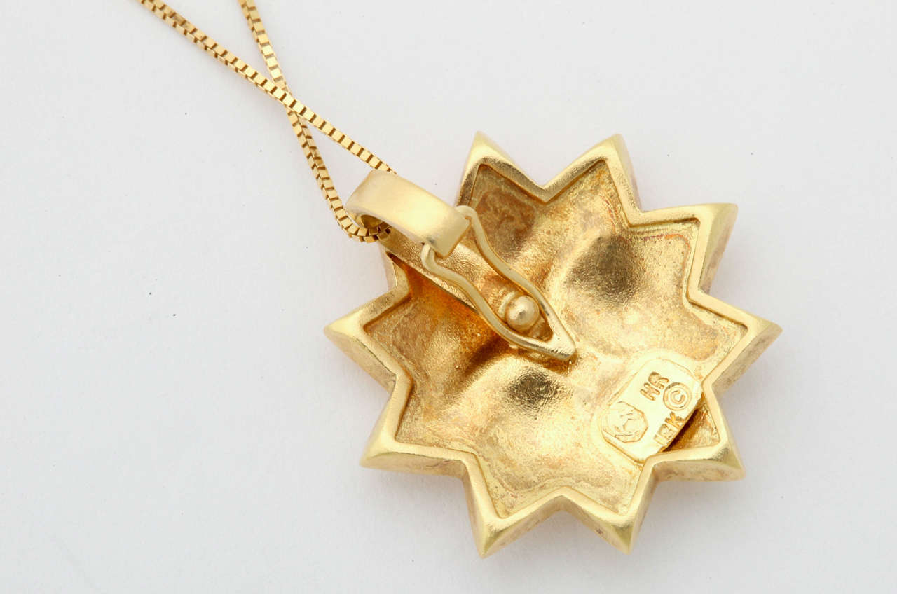 Sunny Gold Sun Pendant In As new Condition For Sale In TRYON, NC