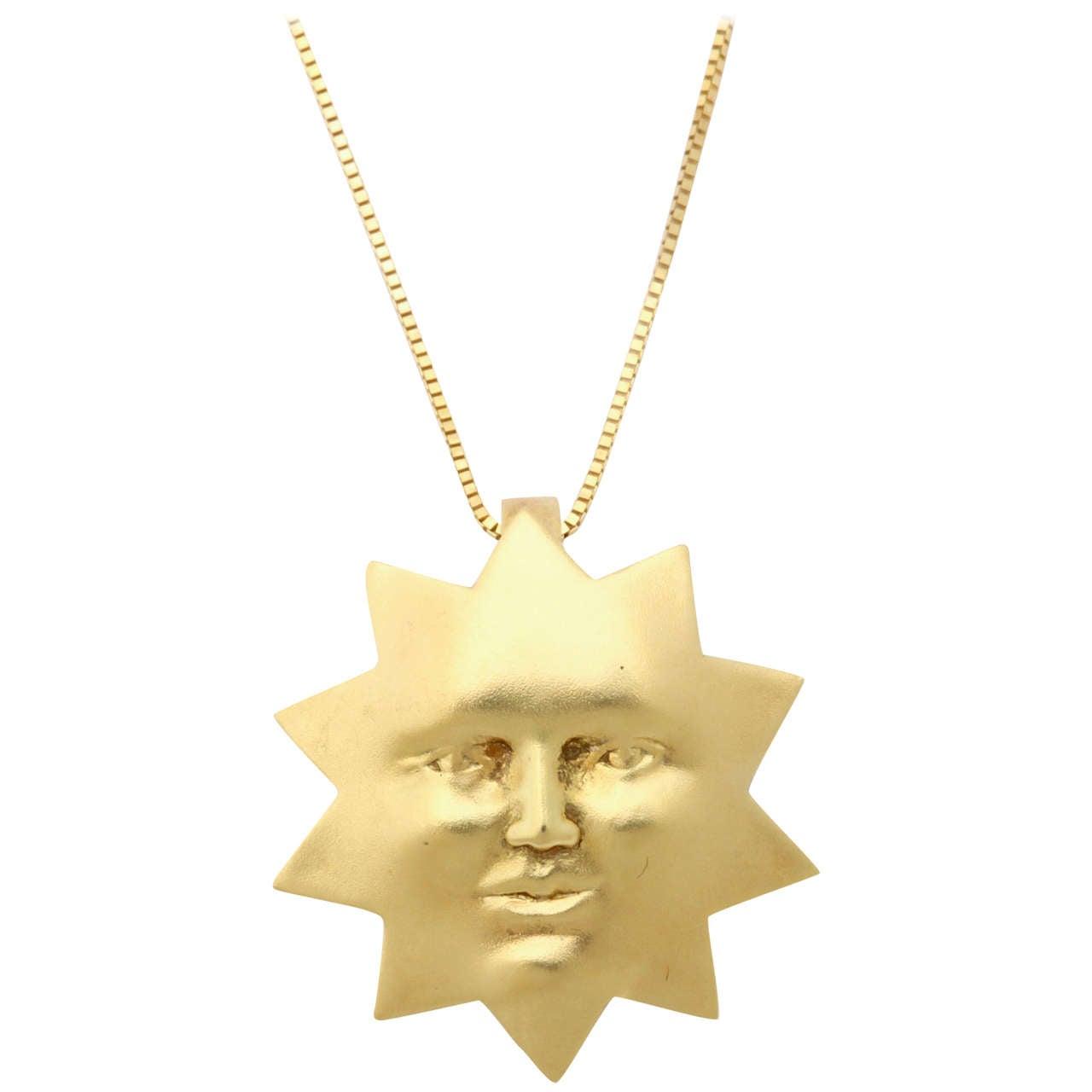 Sunny Gold Sun Pendant For Sale