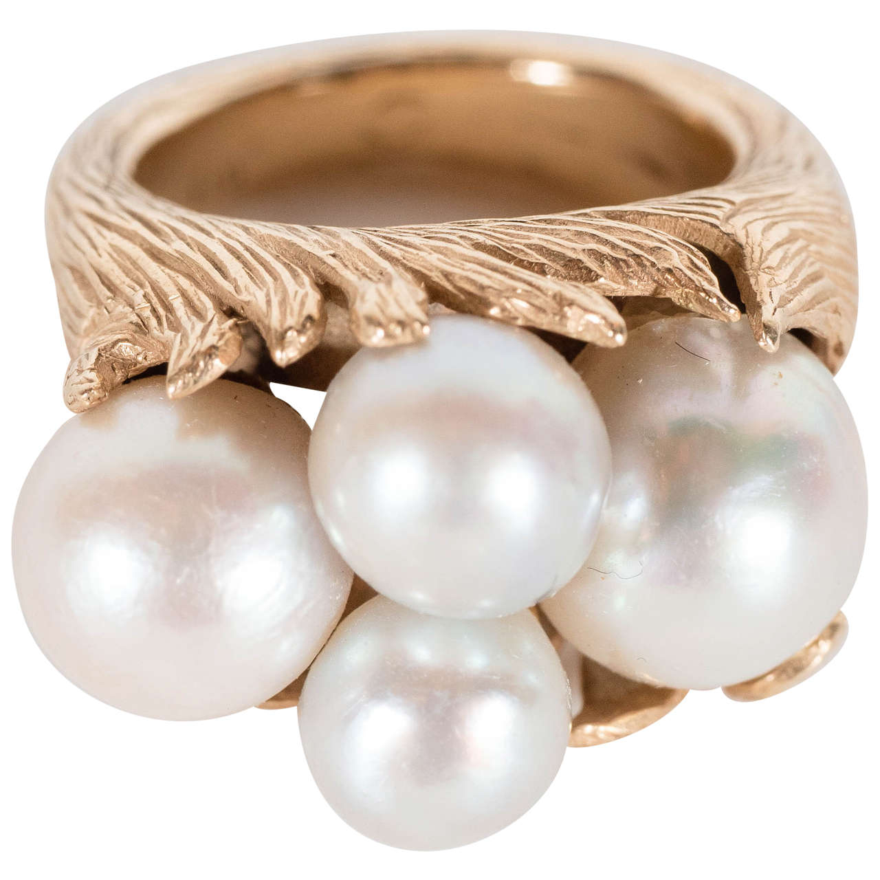 Mid-Century Modernist Leaf Design Pearl and Gold Ring