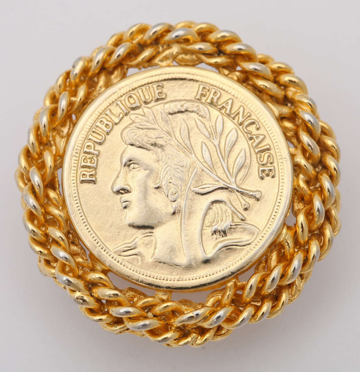 Large French Coin Earrings, Costume Jewelry In Excellent Condition For Sale In Stamford, CT