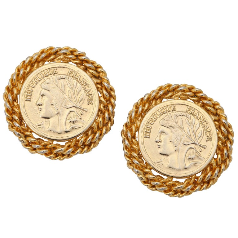 Large French Coin Earrings, Costume Jewelry For Sale