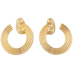 "Pair of Curved Ionic Column ""Gold"" Earrings, Costume Jewelry"