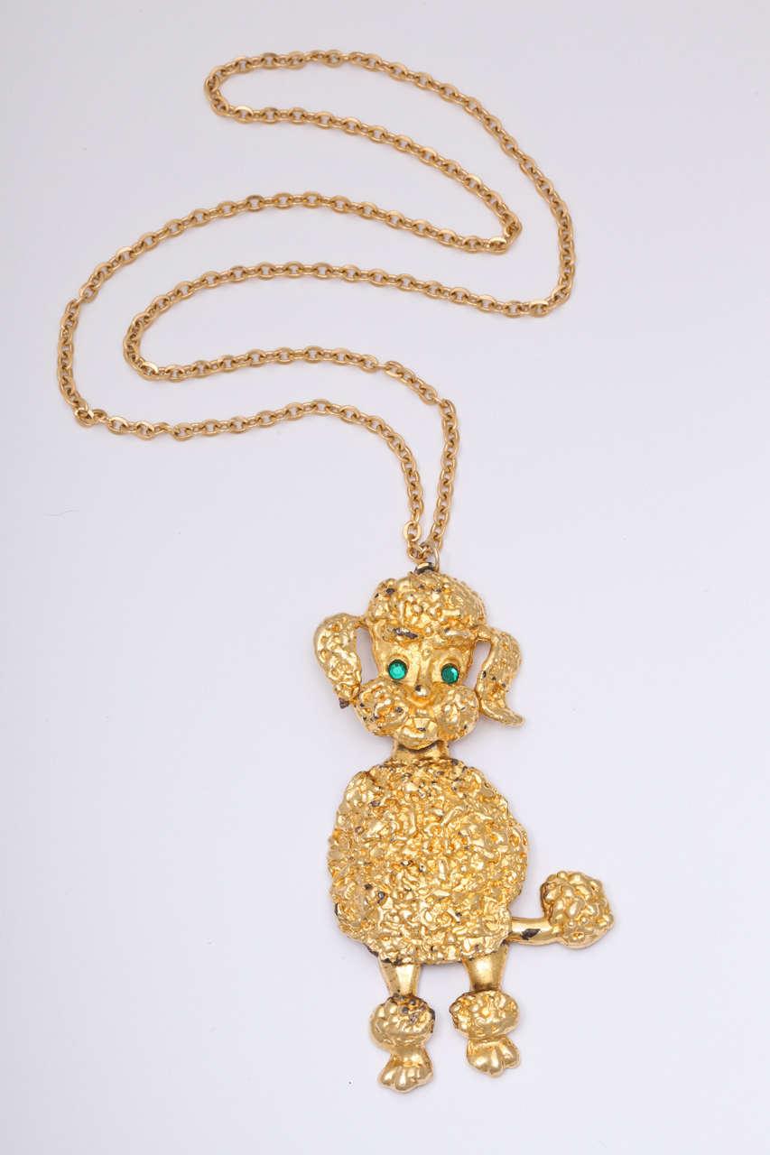 large goldtone poodle pendant necklace for sale at 1stdibs