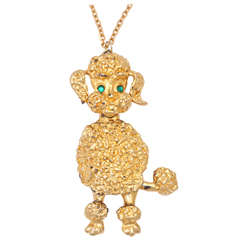 Large Goldtone Poodle Pendant Necklace
