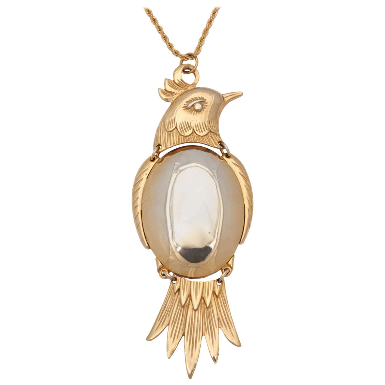 Large Two-Tone Bird Pendant Necklace