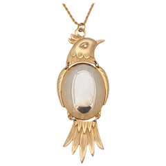 Large Two-Tone Bird Pendant Necklace, Costume Jewelry