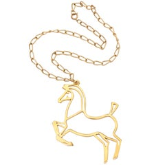 Goldtone Modern Horse Pendant Necklace, Costume Jewelry